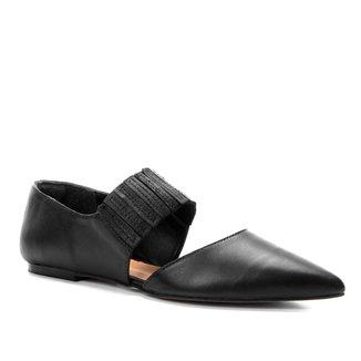 Sapatilha Couro Shoestock Bico Fino Elástico Feminina