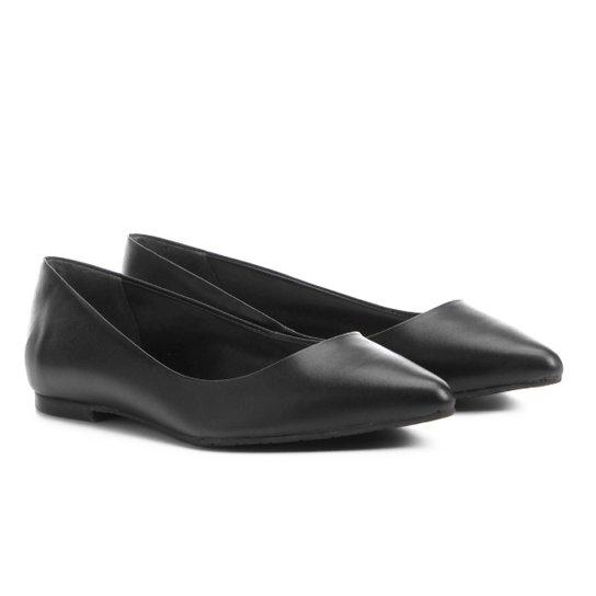 Sapatilha Couro Shoestock Bico Fino Feminina - Preto