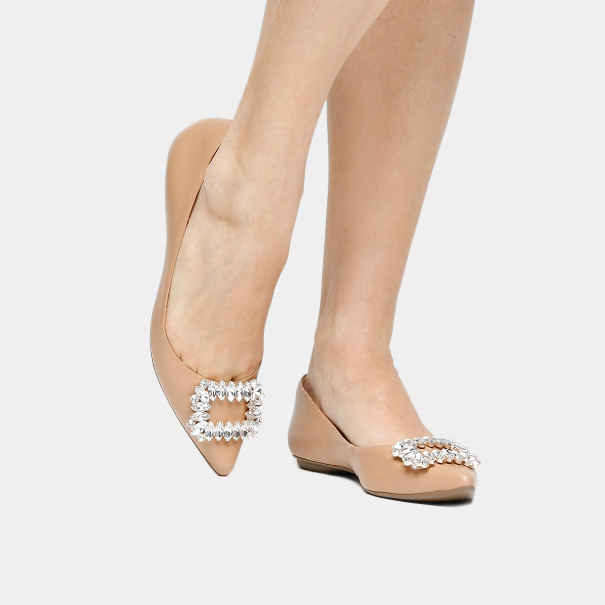 1b87c52cfc Sapatilha Couro Shoestock Bico Fino Fivela Pedrarias Feminina - Nude ...