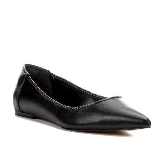 Sapatilha Couro Shoestock Bico Fino Glam Feminina - Preto