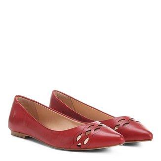 Sapatilha Couro Shoestock Bico Fino Lasercut Feminina