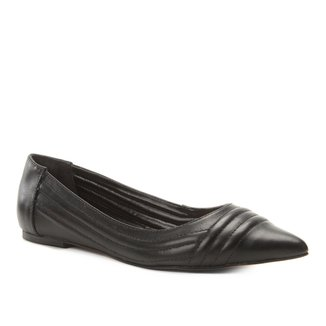 Sapatilha Couro Shoestock Bico Fino Matelassê Feminina