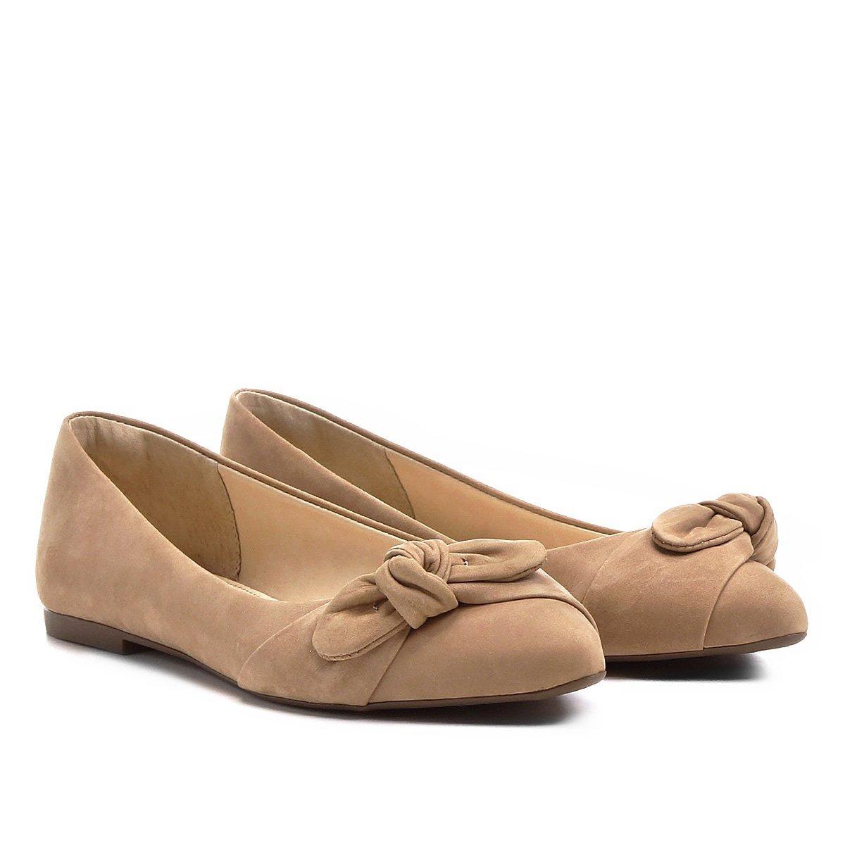 715e9f3d19 Sapatilha Couro Shoestock Bico Fino Nó Feminina - Nude