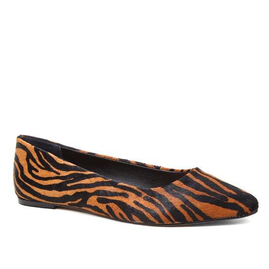 Sapatilha Couro Shoestock Bico Fino Pelo Zebra Feminina - Zebra