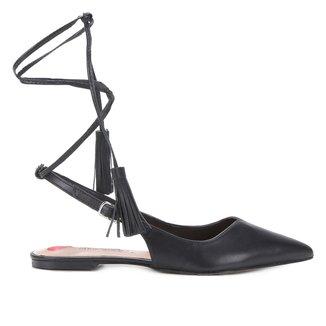 Sapatilha Couro Shoestock Bico Fino Slingback Feminina