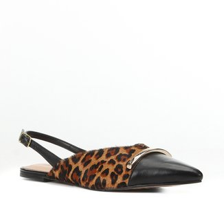 Sapatilha Couro Shoestock Bico Fino Slingback Onça Feminina