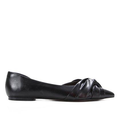 Sapatilha Couro Shoestock Bico Fino Tiras Entrelaçadas Feminina