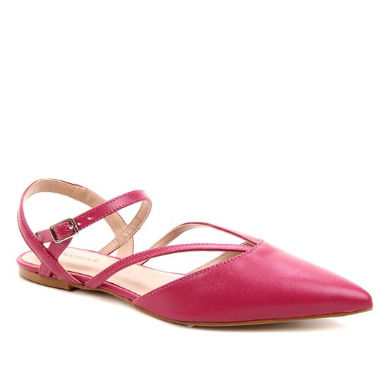 Sapatilha Couro Shoestock Bico Fino Tiras Feminina - Rosa