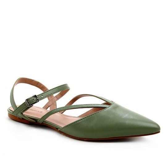 Sapatilha Couro Shoestock Bico Fino Tiras Feminina - Verde Militar