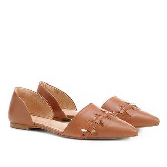 Sapatilha Couro Shoestock Bico Fino Trançada Feminina