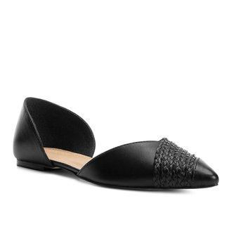 Sapatilha Couro Shoestock Bico Fino Tranças Feminina