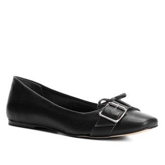 Sapatilha Couro Shoestock Bico Quadrado Fivelas Feminina