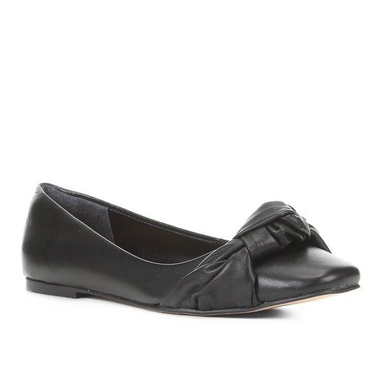Sapatilha Couro Shoestock Bico Quadrado Nó Feminina - Preto