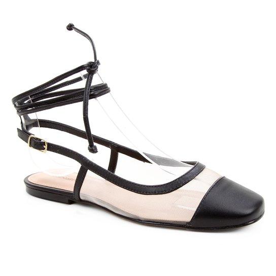 Sapatilha Couro Shoestock Bico Quadrado Tela Feminina - Preto