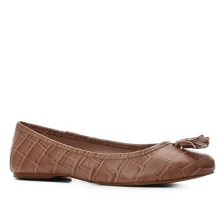 Sapatilha Couro Shoestock Bico Redondo Croco Tassel Feminina