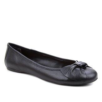 Sapatilha Couro Shoestock Bico Redondo Laço Feminina