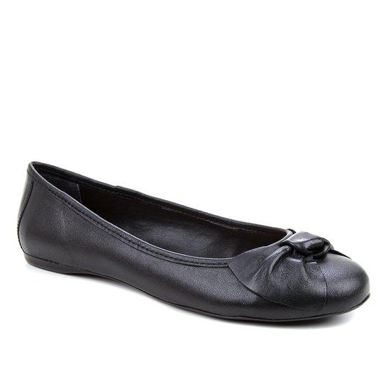 Sapatilha Couro Shoestock Bico Redondo Laço Feminina - Preto