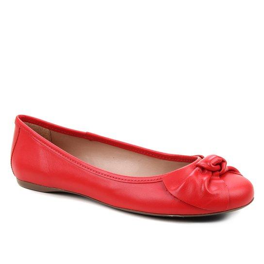 Sapatilha Couro Shoestock Bico Redondo Laço Feminina - Vermelho