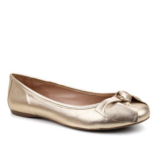 Sapatilha Couro Shoestock Bico Redondo Laço Feminina - Dourado