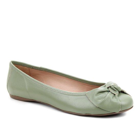 Sapatilha Couro Shoestock Bico Redondo Laço Feminina - Verde Militar