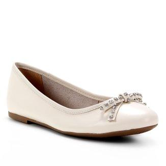 Sapatilha Couro Shoestock Bico Redondo Laço Strass Feminina