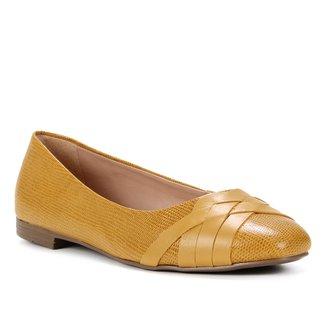 Sapatilha Couro Shoestock Bico Redondo Lezard Feminina