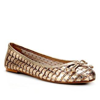 Sapatilha Couro Shoestock Bico Redondo Tressê Feminina