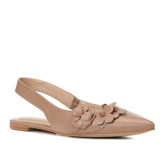 Sapatilha Couro Shoestock Bride Bico Fino Flores Feminina