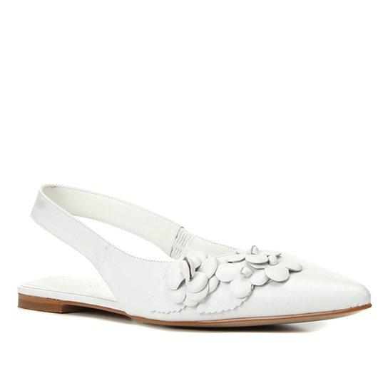 Sapatilha Couro Shoestock Bride Bico Fino Flores Feminina - Branco