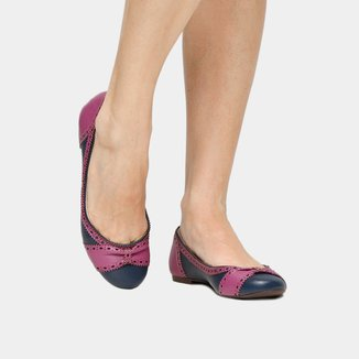 Sapatilha Couro Shoestock Brogues Bicolor Feminina