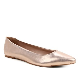 Sapatilha Couro Shoestock Camurça Metalizada Feminina
