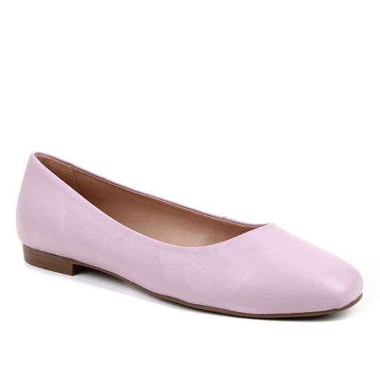 Sapatilha Couro Shoestock Comfy Bico Quadrado Feminina - Rosa Claro