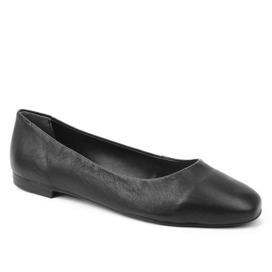 Sapatilha Couro Shoestock Comfy Bico Quadrado Feminina - Preto