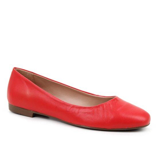 Sapatilha Couro Shoestock Comfy Bico Quadrado Feminina - Vermelho