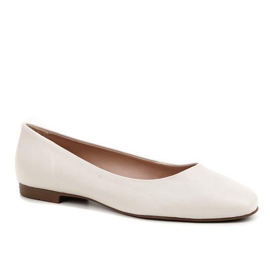 Sapatilha Couro Shoestock Comfy Bico Quadrado Feminina - Off White