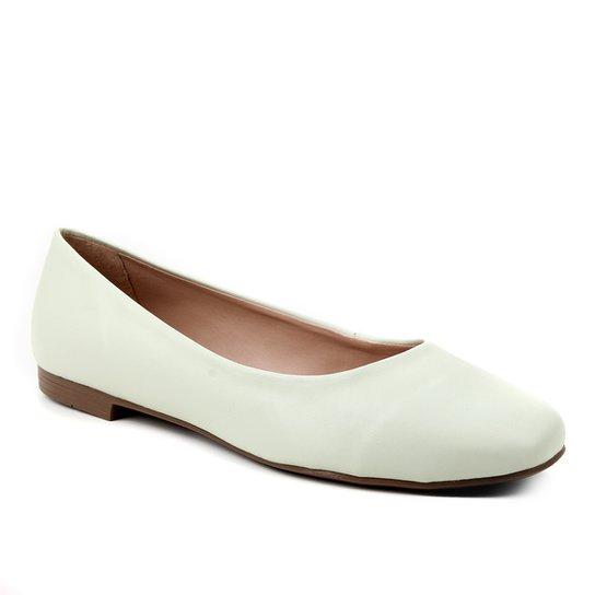 Sapatilha Couro Shoestock Comfy Bico Quadrado Feminina - Verde claro