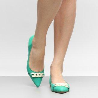 Sapatilha Couro Shoestock Corrente Resina Feminina