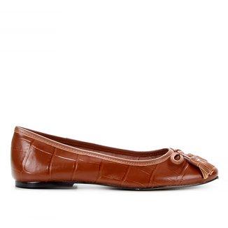 Sapatilha Couro Shoestock Croco Bico Reto Tassel Feminina