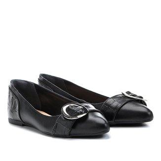 Sapatilha Couro Shoestock Croco Feminina