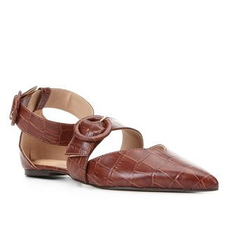 Sapatilha Couro Shoestock Croco Tira Removível Feminina