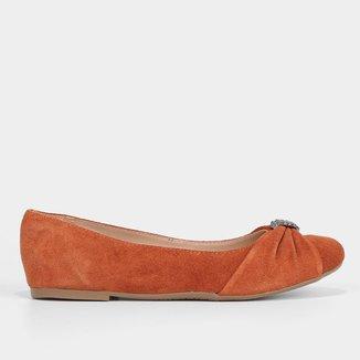 Sapatilha Couro Shoestock Detalhe Metal Feminina