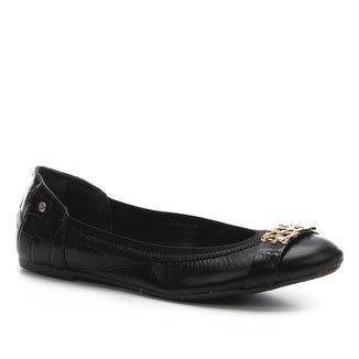 Sapatilha Couro Shoestock  Elástico Apliques Feminina
