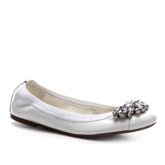 Sapatilha Couro Shoestock Elástico Noiva Feminina