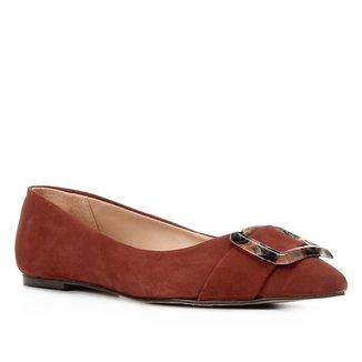 Sapatilha Couro Shoestock Fivela Marmorizada Feminina