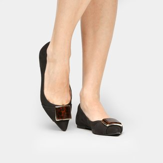 Sapatilha Couro Shoestock Fivela Onça Feminina