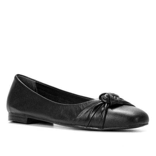 Sapatilha Couro Shoestock For You Bico Reto Feminina - Preto