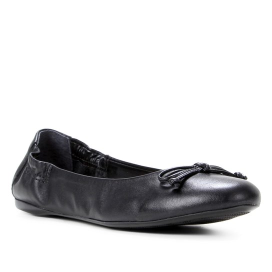 Sapatilha Couro Shoestock For You Elástico Feminina - Preto