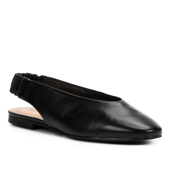 Sapatilha Couro Shoestock High Vamp Feminina - Preto