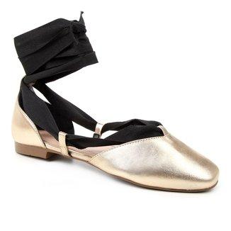 Sapatilha Couro Shoestock Lace up Feminina