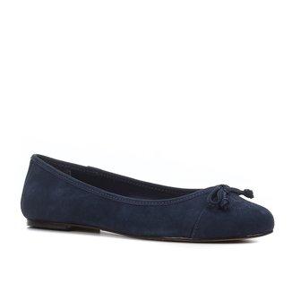Sapatilha Couro Shoestock Laço Bordado Logo Feminina
